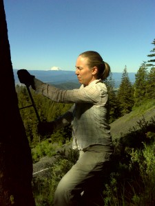 Coring a Ponderosa pine with Mt. Rainier in the background, fieldwork 2011.
